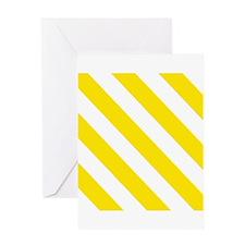 Yellow Diagonal Stripes Greeting Cards