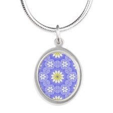Lavender Blue Silver Oval Necklace