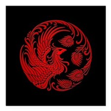 Traditional Red Phoenix Circle on Black Square Car