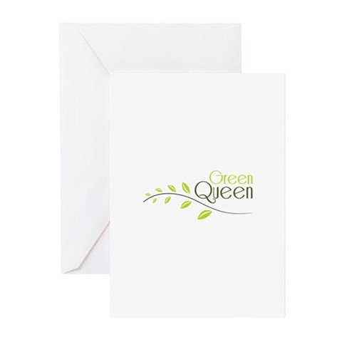 Green Queen Greeting Cards