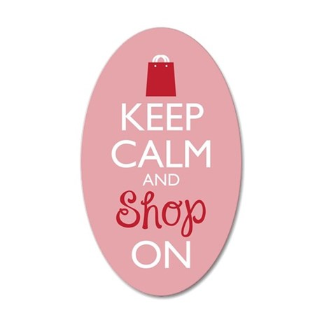 Keep Calm And Shop On 20x12 Oval Wall Decal