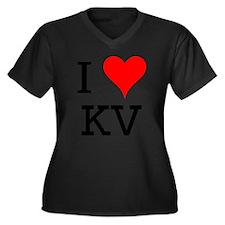 I Love KV Women's Plus Size V-Neck Dark T-Shirt