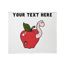 Custom Worm In Apple Throw Blanket