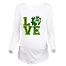 Love Brazilian Footb Long Sleeve Maternity T-Shirt