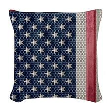 American Flag Metal Look Woven Throw Pillow