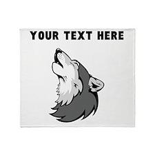 Custom Wolf Howling Throw Blanket