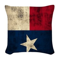 Grunge Flag of Texas Woven Throw Pillow