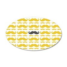 Yellow Grey Mustache Pattern Wall Decal