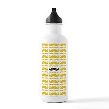 Yellow Grey Mustache Pattern Water Bottle
