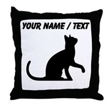 Custom Cat Sitting Throw Pillow