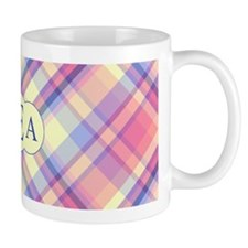 Pink Sunrise Plaid Monogram Small Mug