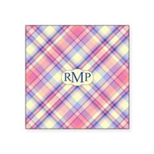 "Pink Sunrise Plaid Monogram Square Sticker 3"" x 3"""