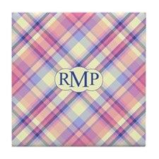 Pink Sunrise Plaid Monogram Tile Coaster