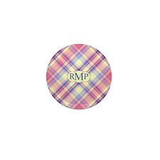 Pink Sunrise Plaid Monogram Mini Button (10 pack)