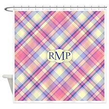 Pink Sunrise Plaid Monogram Shower Curtain