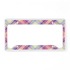Pink Sunrise Plaid Monogram License Plate Holder