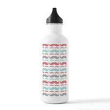 Coral Aqua Grey Mustac Water Bottle