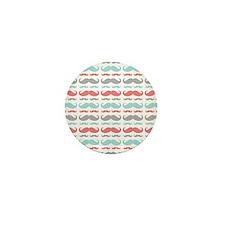 Coral Aqua Grey Mustache Mini Button (10 pack)