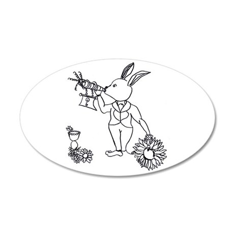 white rabbit with carrot horn daisies Wall Decal