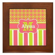 Lime Green Coral Stripe Personalized Framed Tile