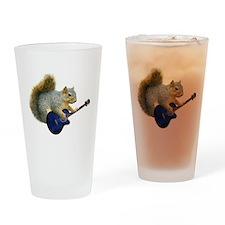 Squirrel Blue Guitar Drinking Glass