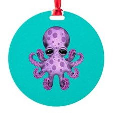 Cute Purple Baby Octopus on Blue Ornament