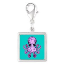 Cute Purple Baby Octopus on Blue Charms