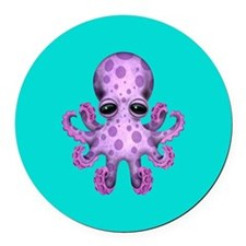 Cute Purple Baby Octopus on Blue Round Car Magnet