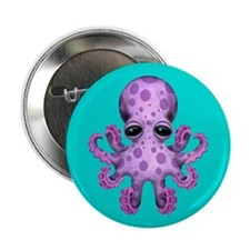 "Cute Purple Baby Octopus on Blue 2.25"" Button"