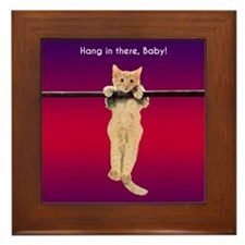 Hang In There Baby Kitten Framed Tile