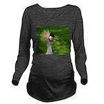 Grey Crowned Crane Long Sleeve Maternity T-Shirt