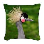 Grey Crowned Crane Woven Throw Pillow