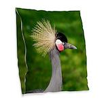 Grey Crowned Crane Burlap Throw Pillow