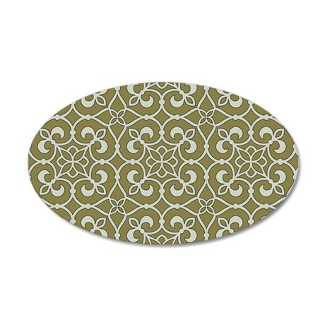Brown and Green Moroccan Scroll Ornate Pattern Wal
