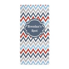 Red Blue Gray Chevron Personalized Beach Towel