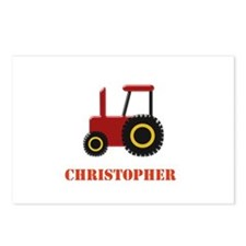 Personalised Red Tractor Postcards (Package of 8)