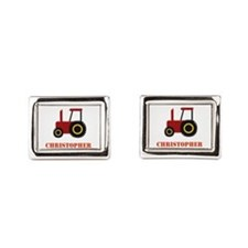 Personalised Red Tractor Rectangular Cufflinks
