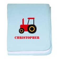 Personalised Red Tractor baby blanket