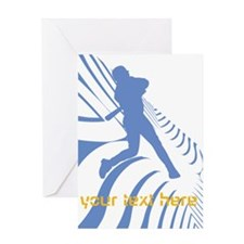 Personalize Sport Blue Baseball Logo Greeting Card