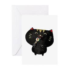 Black Sushi Cat Greeting Cards