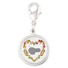 Fancy Heart Hippo Silver Round Charm