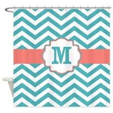Coral Turquoise Shower Curtains