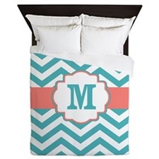 Coral Teal Chevron Monogram Queen Duvet