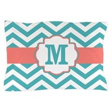 Coral Teal Chevron Monogram Pillow Case