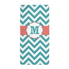 Coral Teal Chevron Monogram Beach Towel