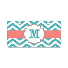 Coral Teal Chevron Monogram Aluminum License Plate