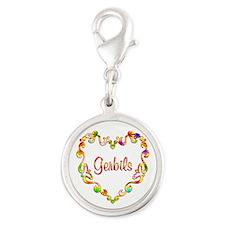 Fancy Heart Gerbils Silver Round Charm