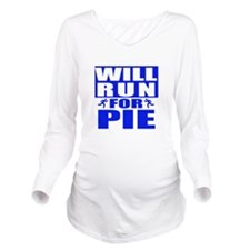 Run for Pie (Blue) Long Sleeve Maternity T-Shirt