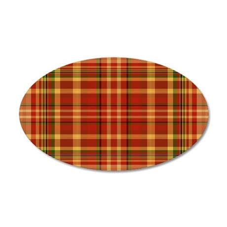 Pizza Plaid 35x21 Oval Wall Decal