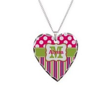 Pink Lime Green Dots Personalized Necklace